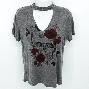 5/$25 REBEL SOCIETY Women's Skull & Rose's Shirt S